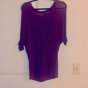 Express oversized knit short sleeved sweater top